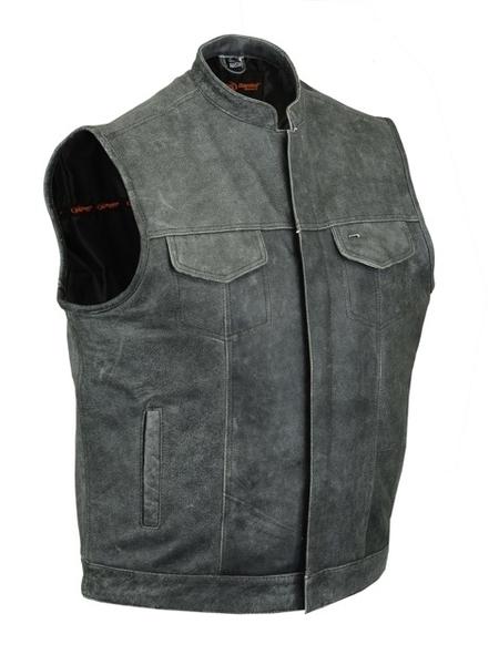 Wholesale Men's Leather Vests   DS188 Concealed Snaps, Premium Naked Cowhide, Scoop Collar & Hidden Zipper   Daniel Smart Manufacturing