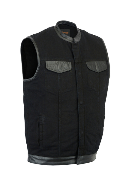 DM992 Men's Black Denim Single Panel Concealment Vest W/ Leather Trim | Men's Denim Vests