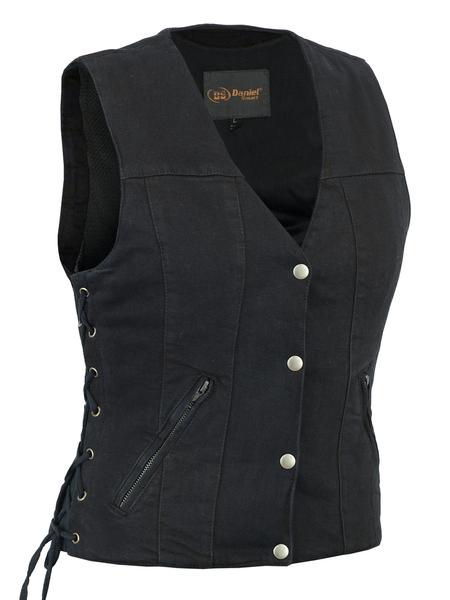 DM906BK Women's Single Back Panel Concealed Carry Denim Vest | Women's Denim Vests