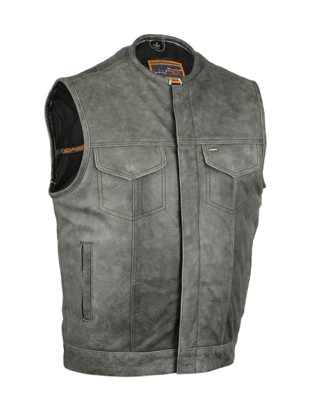 Men's Biker Vest With Concealed Snaps In Grey Naked Cowhide