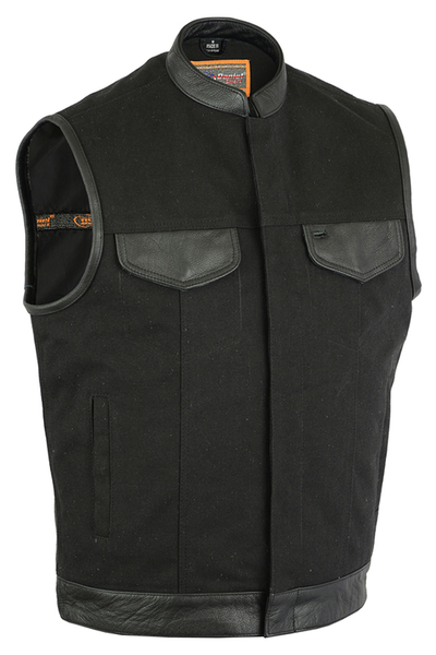 Wholesale Men's Leather Vests | DS188 Concealed Snaps, Premium Naked Cowhide, Scoop Collar & Hidden Zipper | Daniel Smart Manufacturing