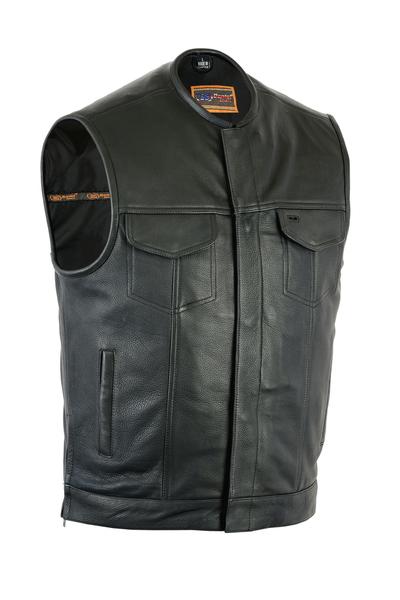 Men's Leather Biker Vest With Upgraded Style Gun Pockets
