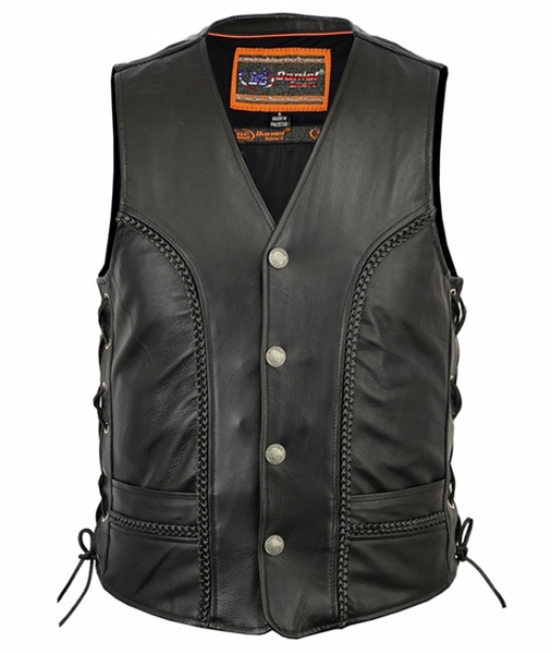 Men's Braided Leather Biker Vest With Side Lacing Details