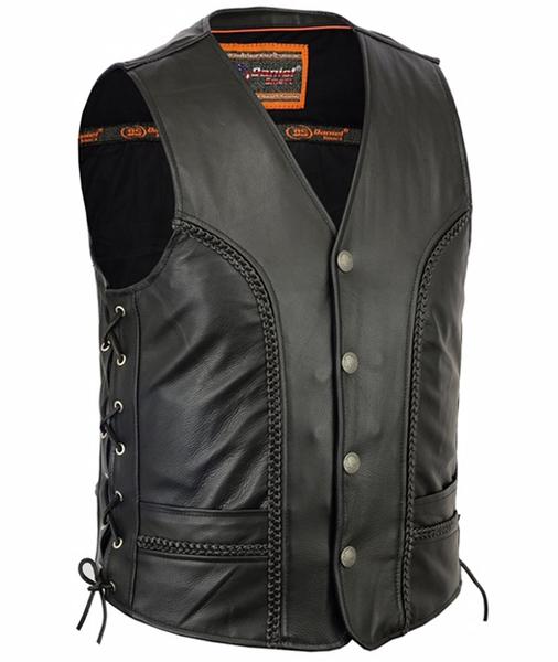 Men's Braided Leather Biker Vest With Side Lacing Details