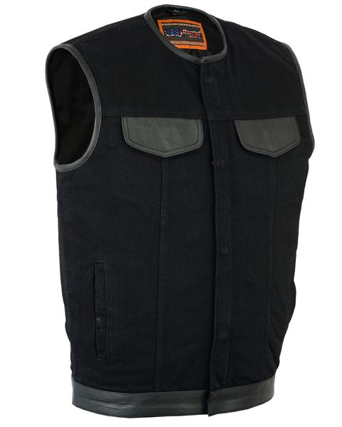 DM991 Men's Black Denim Single Panel Concealment Vest W/Leather Trim- w/o Collar | Men's Denim Vests