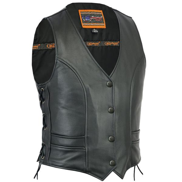 DS271 Women's Stylish Full Cut Vest | Women's Leather Vests