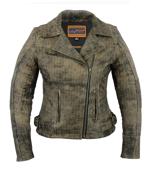 DS836 Women's Updated Stylish Antique Brown M/C Jacket | Women's Leather Jackets
