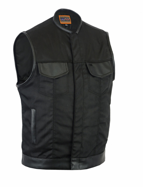 DS687 Concealed Snap Closure, Textile Material, W/O Collar & Hidden Zipper | Men's Textile Vests