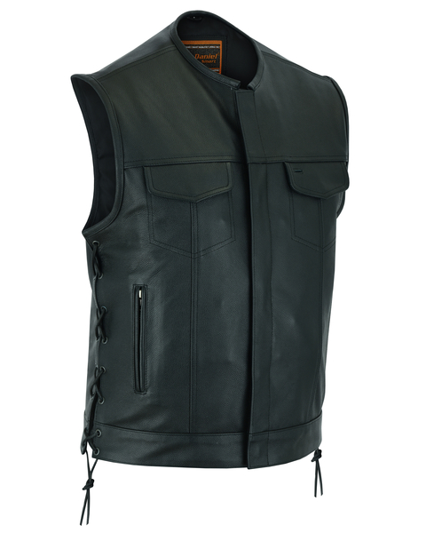 Men's Leather Biker Vest With Gun Pockets And Hidden Zipper