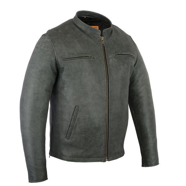 DS709 Men's Sporty Cruiser Jacket (GRAY) | Men's Leather Jackets