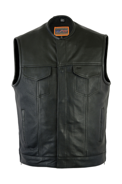 Men's Black Leather Motorcycle Vest With Gun Pockets