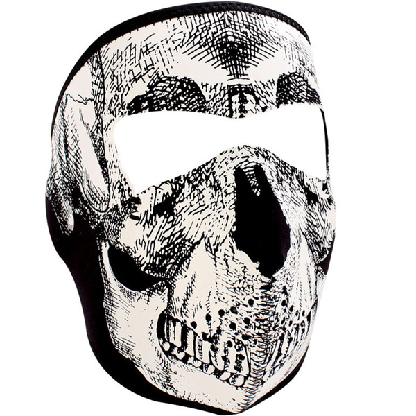 WNFM002 ZAN® Full Mask - Neoprene - Black and White Skull Face | Full Facemasks