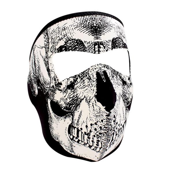 WNFM002G ZAN® Full Mask- Neoprene- Black and White Skull- Glow | Full Facemasks