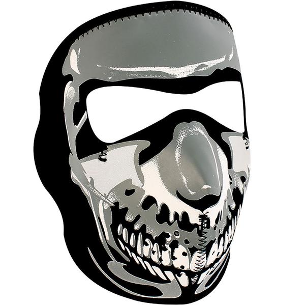 WNFM023 ZAN® Full Mask- Neoprene- Chrome Skull | Full Facemasks