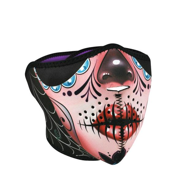 WNFM082H ZAN® Half Mask- Neoprene- Sugar Skull Reversible to Purple | Half Facemasks