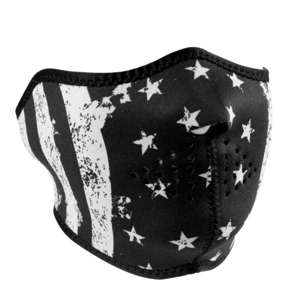 WNFM091H ZAN® Half Mask- Neoprene- Black and White Flag | Half Facemasks