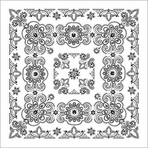"BD2506 Bandana Texas Paisley White [27"" x27""] | Bandanas"