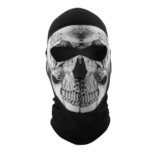 WBC002NFME Balaclava Extreme- COOLMAX®- Full Mask- Black and White Skull | Head/Neck/Sleeve Gear
