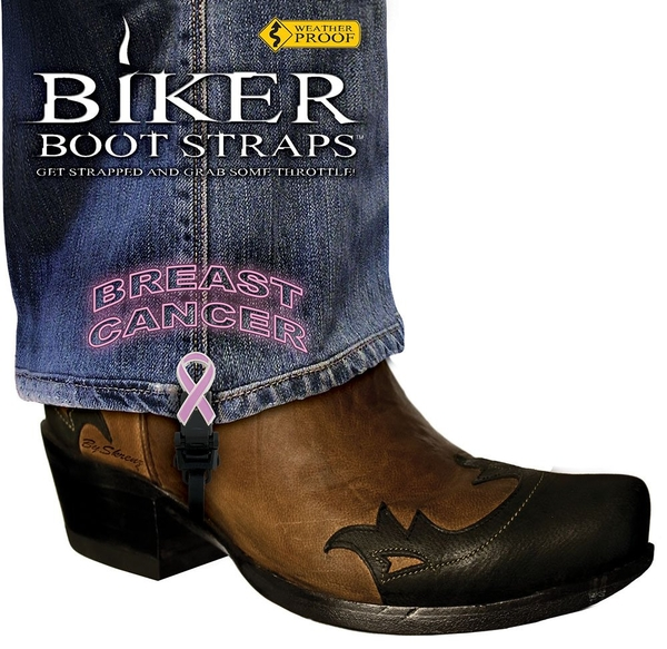 BBS-BC4 Weather Proof- Boot Straps- Breast Cancer- 4 inch | Biker Boot Straps