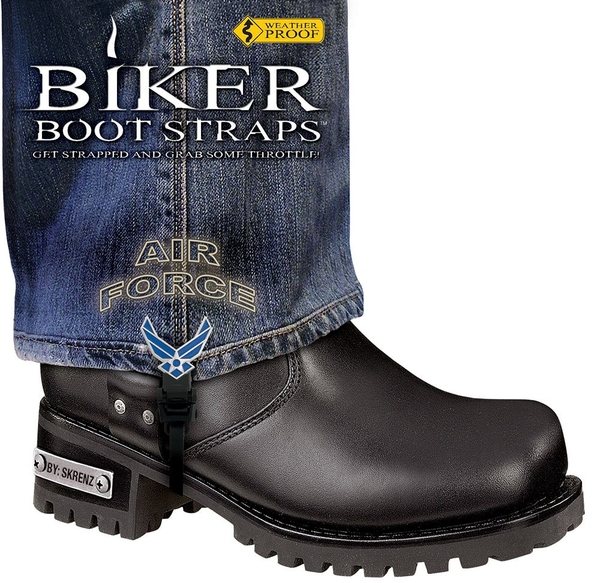 BBS/AF6 Weather Proof- Boot Straps- Air Force- 6 Inch | Biker Boot Straps