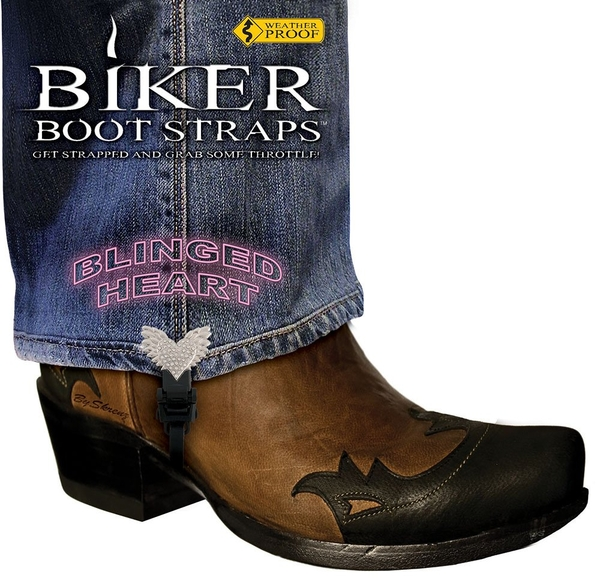 BBS/ BH4 Weather Proof- Boot Straps- Blinged Heart- 4 Inch | Biker Boot Straps
