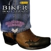 BBS/ BH4 Weather Proof- Boot Straps- Blinged Heart- 4 Inch   Biker Boot Straps