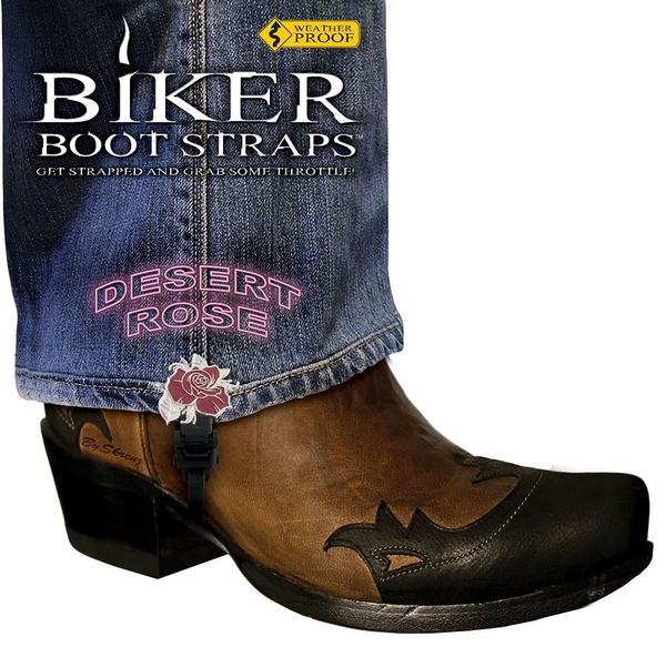 BBS/DR4 Weather Proof- Boot Straps- Desert Rose- 4 Inch | Biker Boot Straps