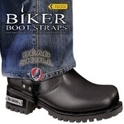 BBS/DS6 Weather Proof- Boot Straps- Dead Skull- 6 Inch | Biker Boot Straps