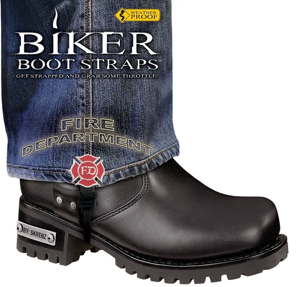 BBS/FD6 Weather Proof- Boot Straps- Fire Department- 6 Inch | Biker Boot Straps