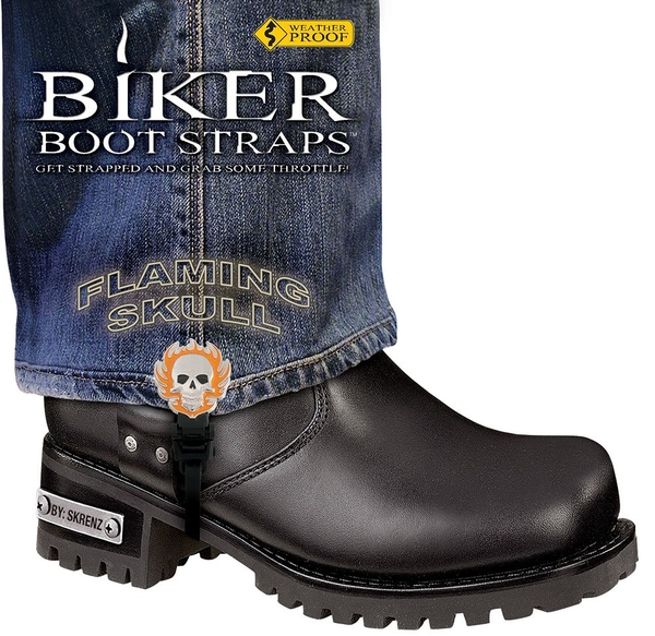 BBS/FS6 Weather Proof- Boot Straps- Flaming Skull- 6 Inch | Biker Boot Straps