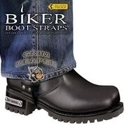 BBS/GR6 Weather Proof- Boot Straps- Grim Reaper- 6 Inch | Biker Boot Straps