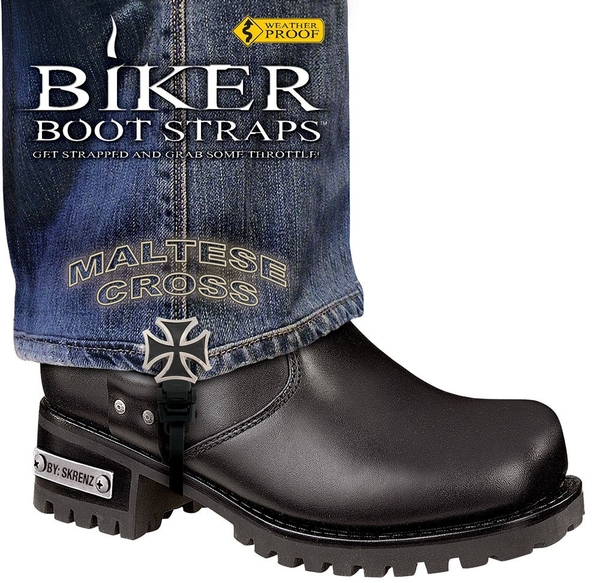 BBS/MC6 Weather Proof- Boot Straps- Maltese Cross- 6 Inch   Biker Boot Straps