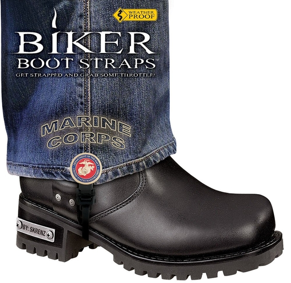 BBS/MR6 Weather Proof- Boot Straps- Marine Corps- 6 Inch | Biker Boot Straps
