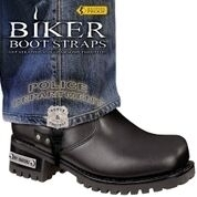 BBS/PD6 Weather Proof- Boot Straps- Police Department- 6 Inch | Biker Boot Straps