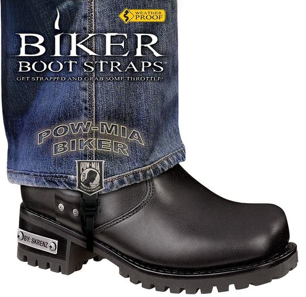BBS/PW6 Weather Proof- Boot Straps- POW MIA- 6 Inch | Biker Boot Straps