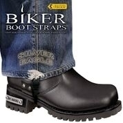 BBS/SE6 Weather Proof- Boot Straps- Silver Eagle- 6 Inch | Biker Boot Straps