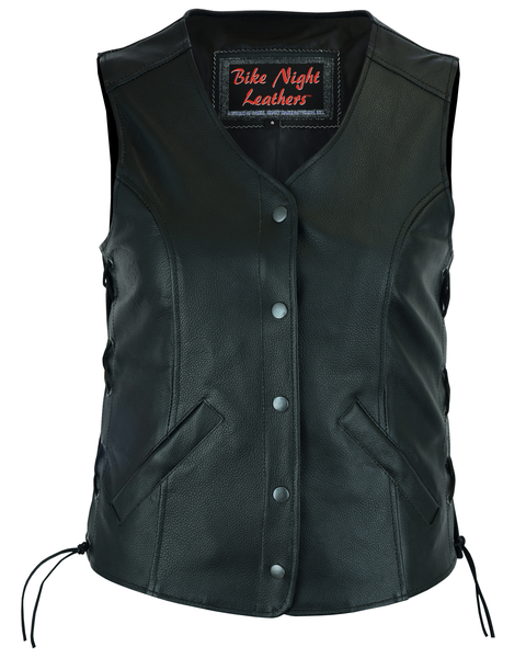 DS206 Women's Stylish Longer Body ¾ Vest – Side Laces | Women's Leather Vests