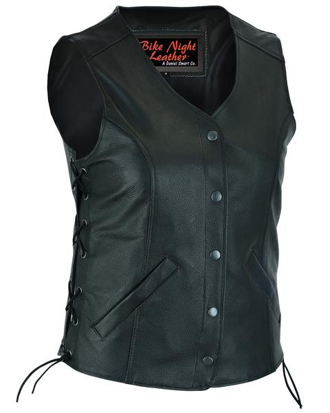 DS206 Women's Stylish Longer Body ¾ Vest – Side Laces | Women's Leather Vests