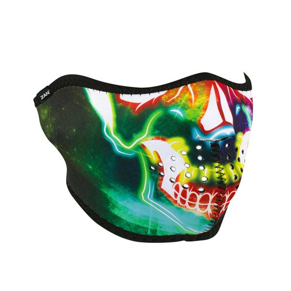 WNFM098H ZAN® Half Mask- Neoprene- Neon Skull | Half Facemasks