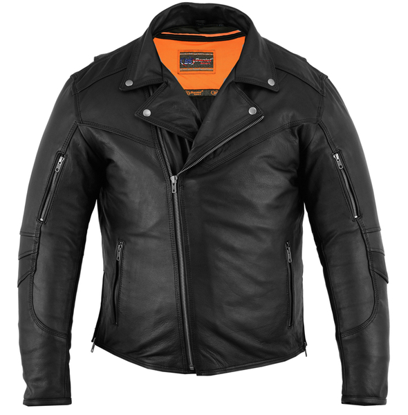 DS794 Men's Modern Longer Beltless Biker Jacket | Men's Leather Jackets