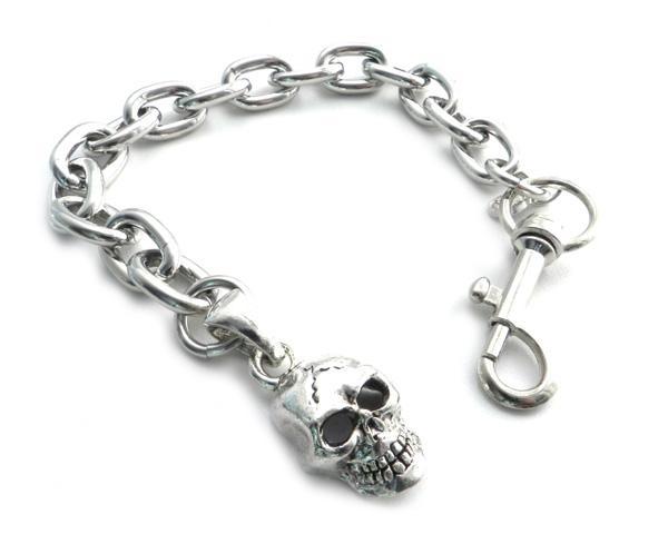 BC11-SKXL Skull Pendant on link Chain Bracelet 8