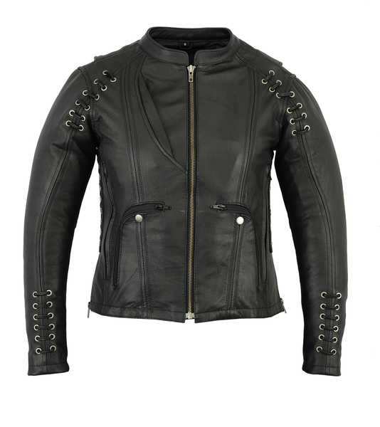 DS885 Women's Stylish Jacket with Grommet and Lacing Accents | Women's Leather Jackets