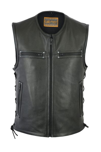 Men's Zipper Front Concealed Carry Vest With Lacing Detail