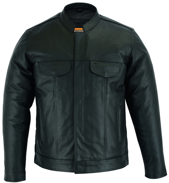 DS788 Men's Full Cut Leather Shirt with Zipper/Snap Front | Men's Jackets
