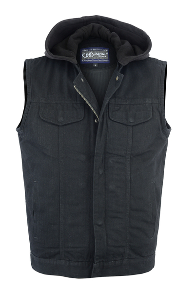 DM982 Men's Black Denim Single Back Panel Concealment Vest w/Removable Hood | Men's Denim Vests