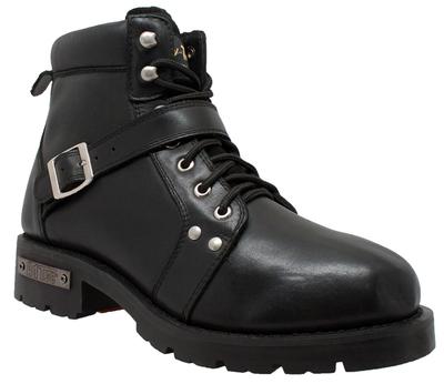 9143 Men's YKK Zipper Biker Boot-Black