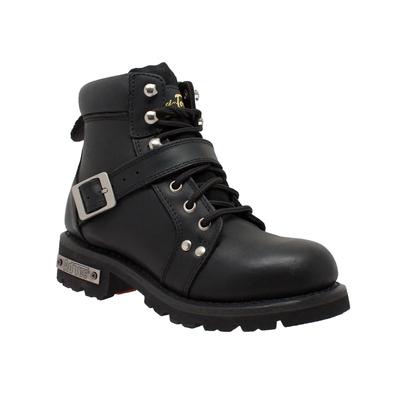 8143 Women's YKK Zipper Black Biker Boot