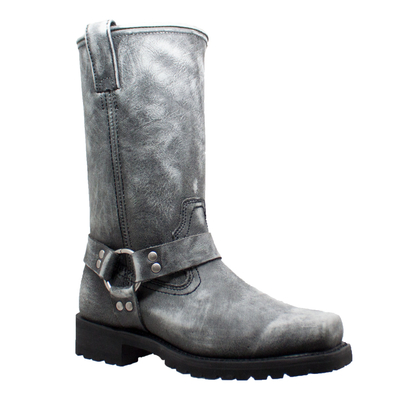 Image 1442SBK Men's Harness Zipper Boot Black Stone Wash Leather