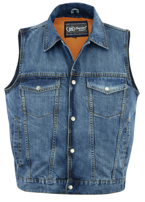 Image DM979BU Snap/Zipper Front Denim Vest- Blue