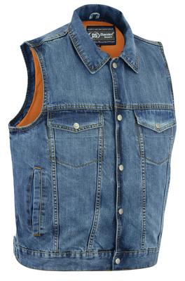 DM979BU Snap/Zipper Front Denim Vest- Blue